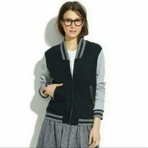 Madewell Black and Gray Varsity Bomber Jacket